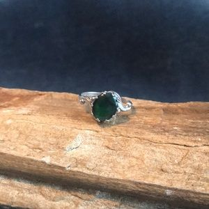 Native American Abalone Shell Ring In Sterling